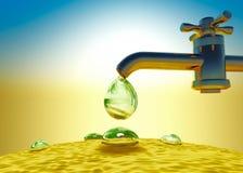 Sequía, calor Riegue el goteo del descenso fuera del grifo del abastecimiento de agua, d Imagen de archivo