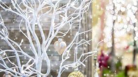 Seque el pequeño árbol pintado en el color blanco adornado con el corazón decorativo del juguete almacen de video