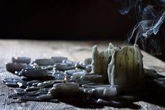 Seque los candels con humo Imágenes de archivo libres de regalías
