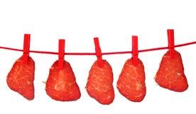 Sequedad secada jamón de la carne en línea de ropa Fotos de archivo libres de regalías