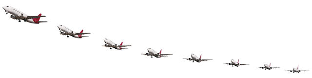 Sequence of airplane takeoff Stock Image