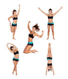 Sequence athlete woman doing fitness. Isolated on white background royalty free stock photos