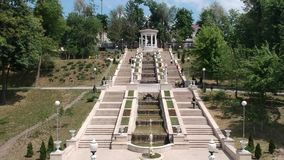 Sequence from a beautiful park, with a beautiful architecture, located in the Republic of Moldova, Europe. Artesian fountains, man stock video