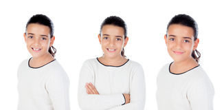 Sequence of brunette girl isolated Stock Image