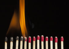 Sequence Of A Burning Match Stock Images