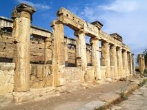 Sequence of columns. Columns of market-place in ancient city Pamukkale in Turkey Royalty Free Stock Image