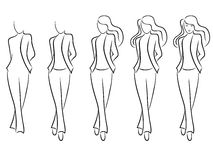 Sequence of drawing a beautiful female contour Royalty Free Stock Photo