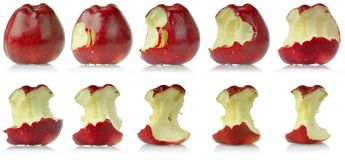 Sequence of eaten apple stock photos