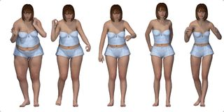 Sequence of fat girl slimming in underwear Royalty Free Stock Photo