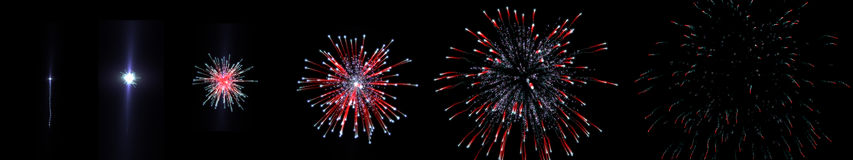 Sequence firework shooting Royalty Free Stock Photography