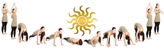 Sequence fo sun salutation Royalty Free Stock Images