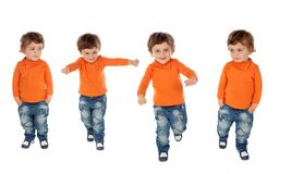 Sequence of four active children. Isolated on a white backgroud stock images