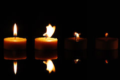 Sequence of frames with a fad. Ing candle royalty free stock photo