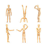 Sequence gestures articulated wooden mannequin Royalty Free Stock Photos