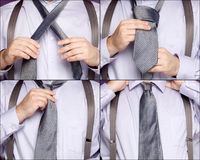 Sequence illustrating a man tying a necktie royalty free stock photography