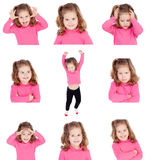 Sequence of images of a pretty girl with different gestures. Isolated on white background stock photography