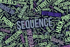 Sequence, conceptual word cloud for business, information technology or IT. Sequence, IT, information technology conceptual word cloud for for design wallpaper Stock Photography