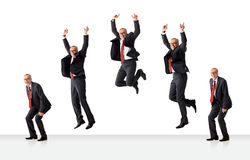 Sequence of jumping senior business man. On white background Royalty Free Stock Images