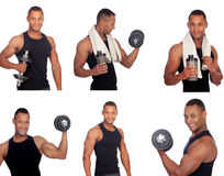 Sequence of latin man in the gym Stock Image