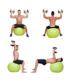 Sequence of a man lifting weights Royalty Free Stock Image