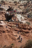Sequence of mountain biker cliff drop Stock Photo