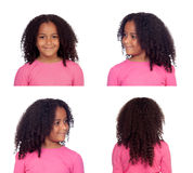 Sequence of photos of a pretty African American girl. From different angles Royalty Free Stock Photography