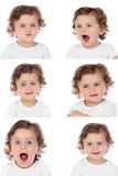 Sequence of portraits with a funny baby doing differents express Royalty Free Stock Image