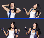 Sequence of pretty girl dancing Stock Photo