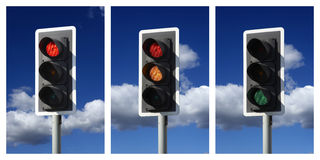 Sequence of red amber green traffic lights Stock Photo