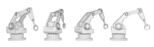 Sequence robotic arm isolated on white 3d rendering. Sequence robotic arm isolated on white. 3d rendering Royalty Free Stock Images