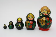 Sequence of russian dolls Royalty Free Stock Photography