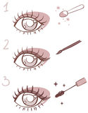 Sequence of  stages eye makeup Stock Photo