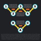 Sequence template infographics. Two parts with footnotes. Stock Photos