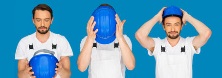 Sequence of three poses of a man donning a hardhat Stock Image