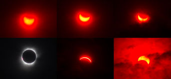 Sequence of Total Eclipse Sollar in Indonesia Royalty Free Stock Photography