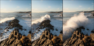Sequence of wave impacts Stock Image