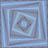 Sequence with whirling blue and white square forms Stock Photo