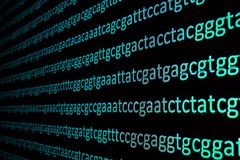 Sequencing the genome. Background on the subject of DNA sequencing, symbols of nucleotide bases on the dark Royalty Free Stock Images