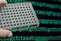 Sequencing the genome. Sequence of nucleotide bases in DNA royalty free stock images