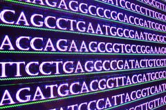Sequencing the genome. Sequence of nucleotide bases in DNA stock photo