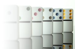 Sequential dominoes from 2 to 6 Stock Photography