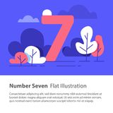 Sequential number, number seven, top chart concept, night sky, flat illustration. Number seven, top chart concept, sequential number, night sky, park trees Royalty Free Stock Photos