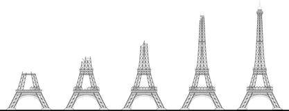 Sequenza della costruzione della torre Eiffel Immagine Stock Libera da Diritti