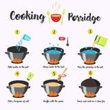 Sequenza di Infographics di cottura del porridge Immagine Stock