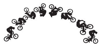 Sequenza di salto della bici Fotografia Stock Libera da Diritti