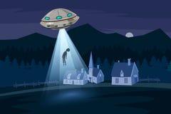 Sequestração do UFO homens, paisagem da exploração agrícola da noite de verão, no campo da noite com casas, no fundo do vetor com Imagem de Stock