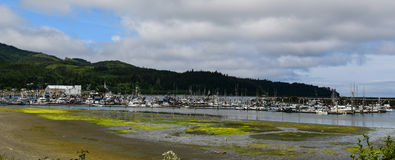 Sequim Harbor on the Straits of Juan De Fuca. Boats at the dock at the Makah Marina in Sequim, Washington Stock Image