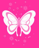 Sequin butterfly embroidery on pink background Stock Image