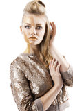 The sequin glittering creative make up girl Stock Image