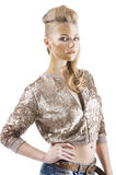 The sequin glittering creative make up girl, Royalty Free Stock Photos